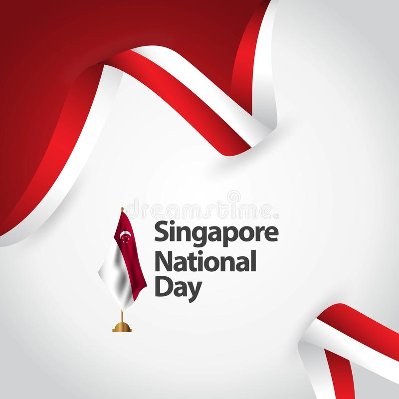 Illustration de conception de calibre de vecteur de jour national de Singapour illustration stock