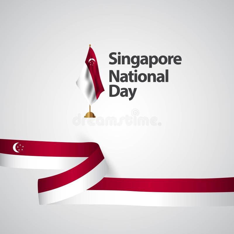 Illustration de conception de calibre de vecteur de jour national de Singapour illustration de vecteur