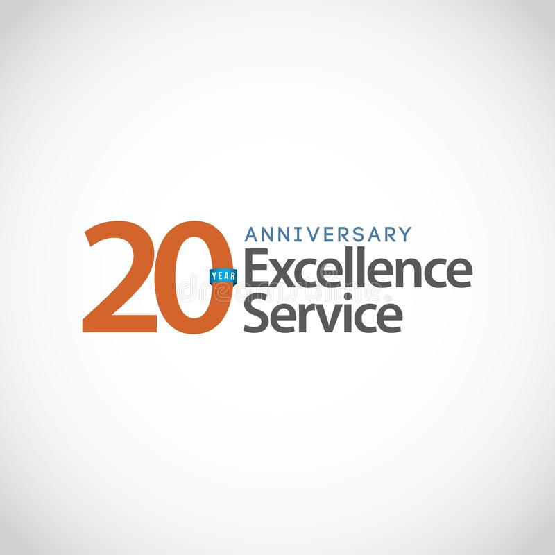 Illustration de conception de calibre de vecteur de service d'excellence d'anniversaire de 20 ans illustration libre de droits