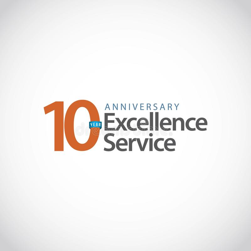 Illustration de conception de calibre de vecteur de service d'excellence d'anniversaire de 10 ans illustration stock