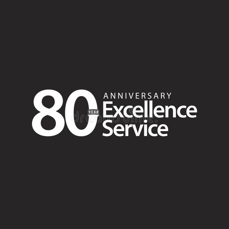 Illustration de conception de calibre de vecteur de service d'excellence d'anniversaire de 80 ans illustration stock