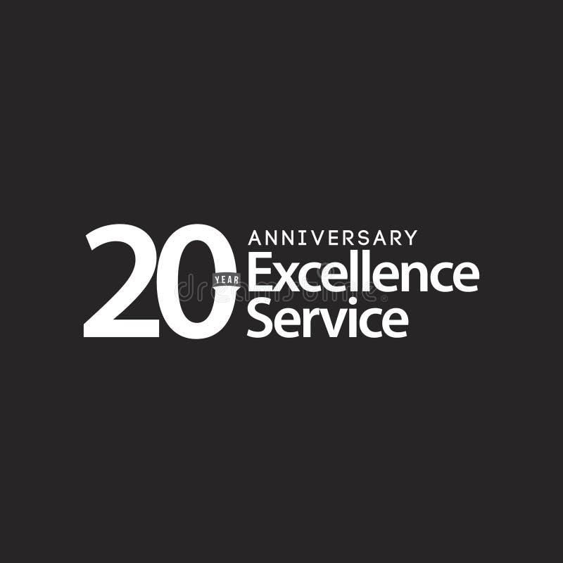 Illustration de conception de calibre de vecteur de service d'excellence d'anniversaire de 20 ans illustration de vecteur