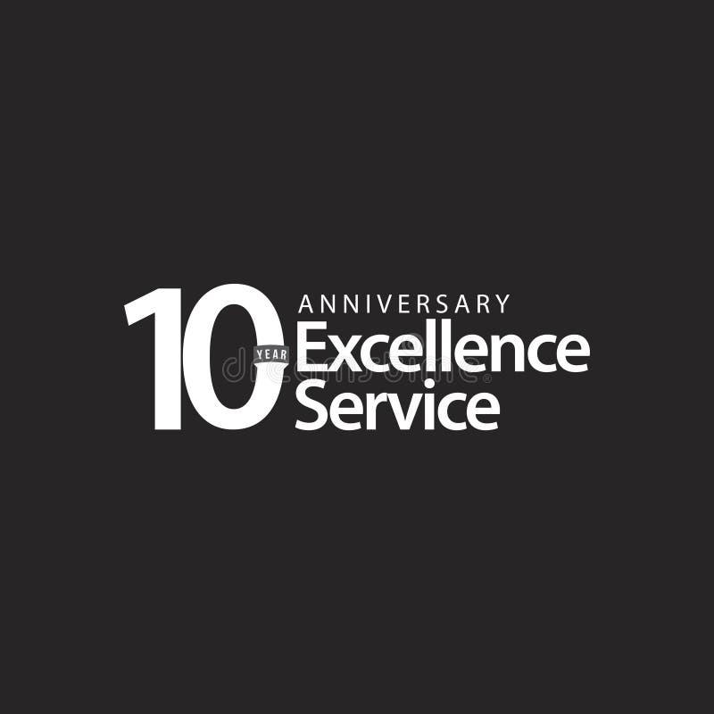 Illustration de conception de calibre de vecteur de service d'excellence d'anniversaire de 10 ans illustration libre de droits
