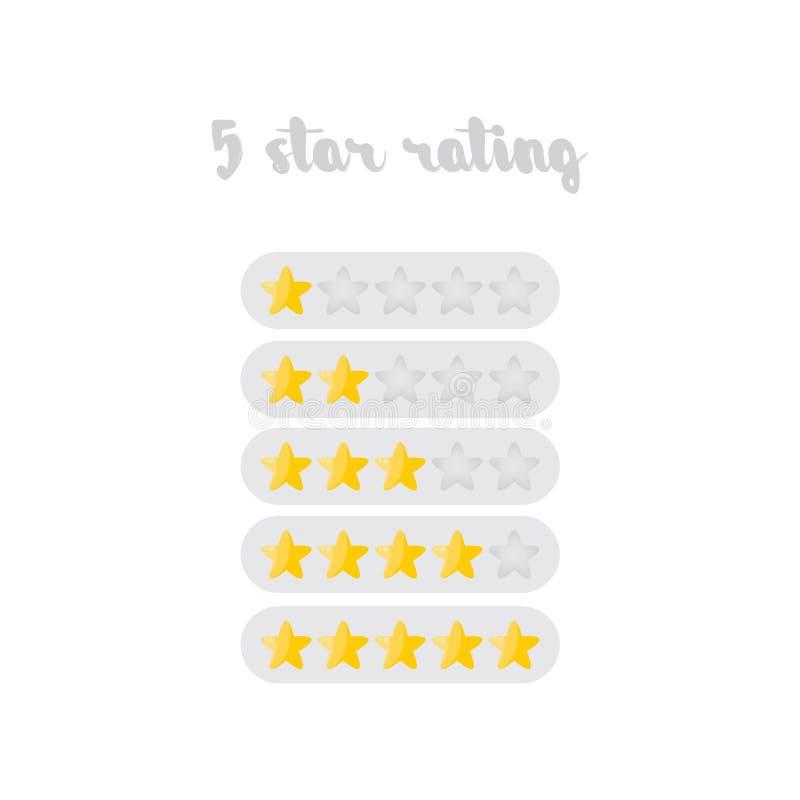 Illustration de conception d'estimation de cinq étoiles d'isolement sur le fond blanc illustration libre de droits
