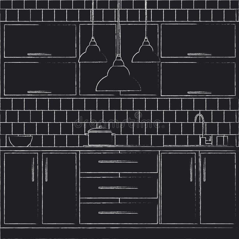 Illustration de conception intérieure de cuisine illustration de vecteur