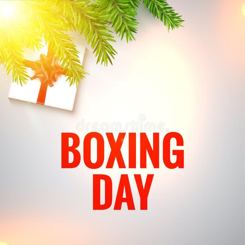 Illustration de conception de lendemain de Noël Fond de lendemain de Noël de Noël avec les branches et la boîte illustration de vecteur