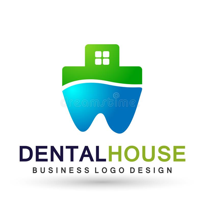 Illustration de conception de logo de vecteur pour le traitement dentaire de dents de pratique en matière de dentiste de maison d illustration libre de droits