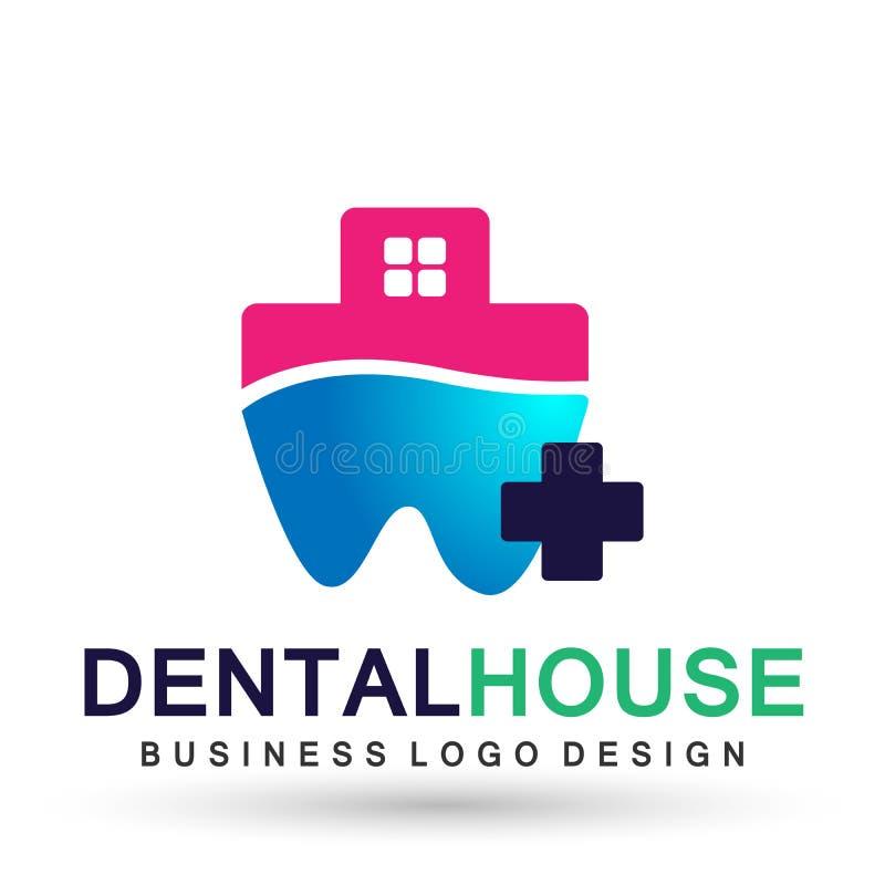 Illustration de conception de logo de vecteur pour le traitement dentaire de dents de pratique en matière de dentiste de maison d illustration stock