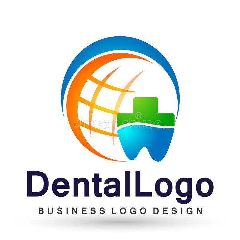 Illustration de conception de logo de vecteur pour le traitement dentaire de dents de pratique en matière de dentiste de soins de illustration libre de droits