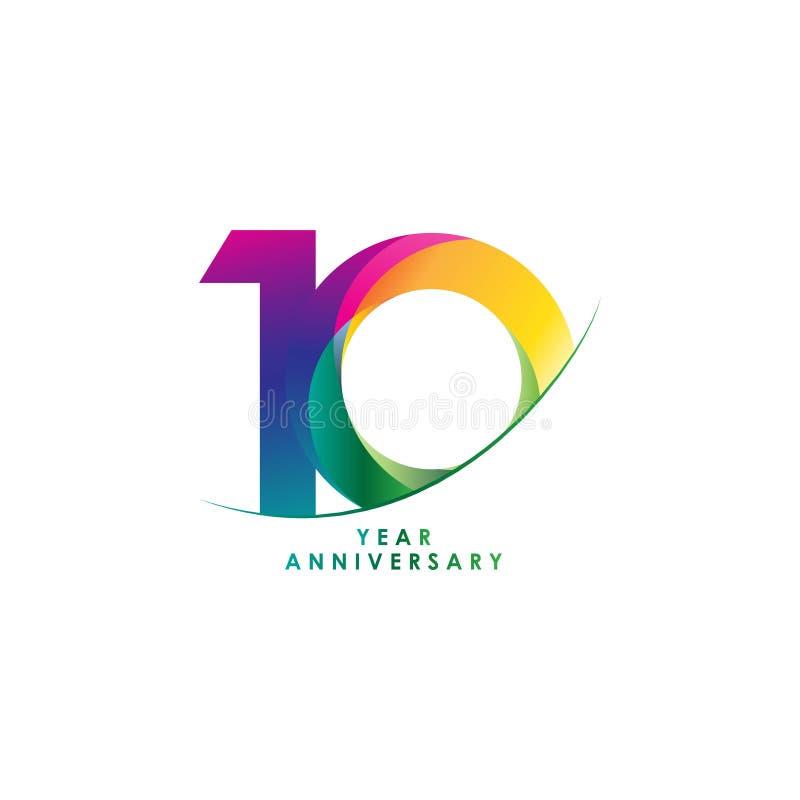 Illustration de conception de vecteur d'anniversaire de 10 ans illustration stock