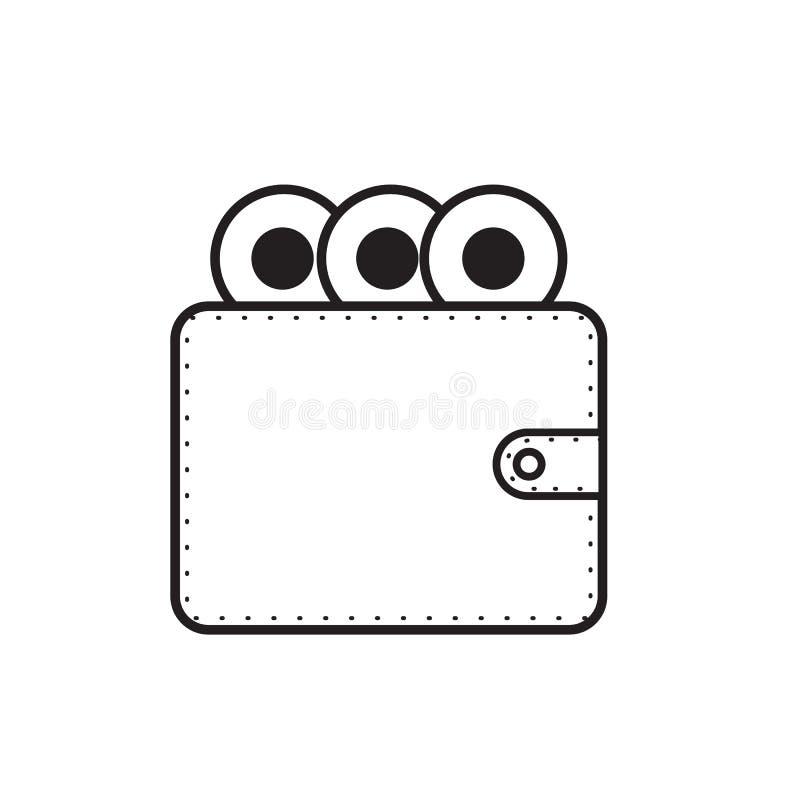 Illustration de conception de vecteur d'icône de portefeuille et d'argent illustration stock