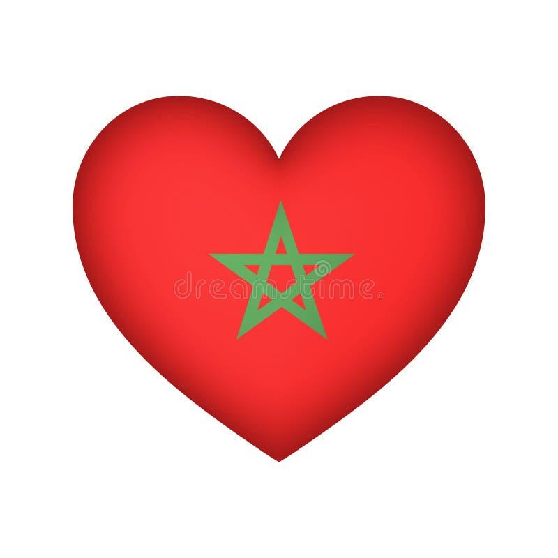 Illustration de conception de vecteur de drapeau de coeur du Maroc illustration de vecteur