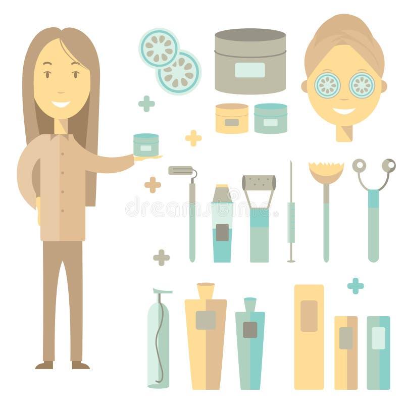 Illustration de cosmétologie de vecteur Femmes de cosmétologie avec de la crème illustration libre de droits