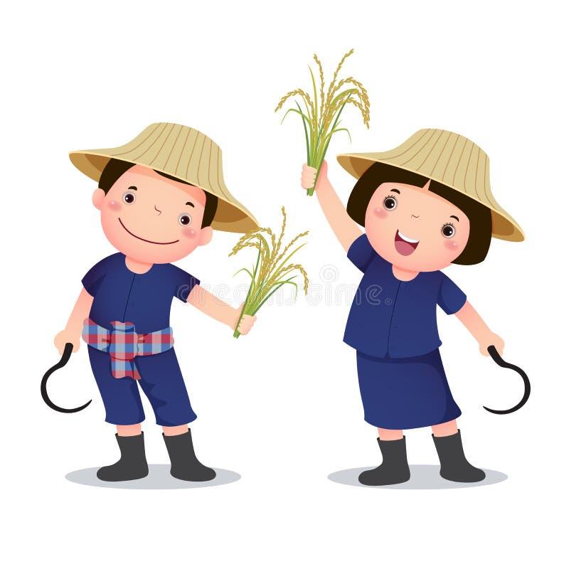 Illustration de costume de profession's d'agriculteur thaïlandais pour des enfants