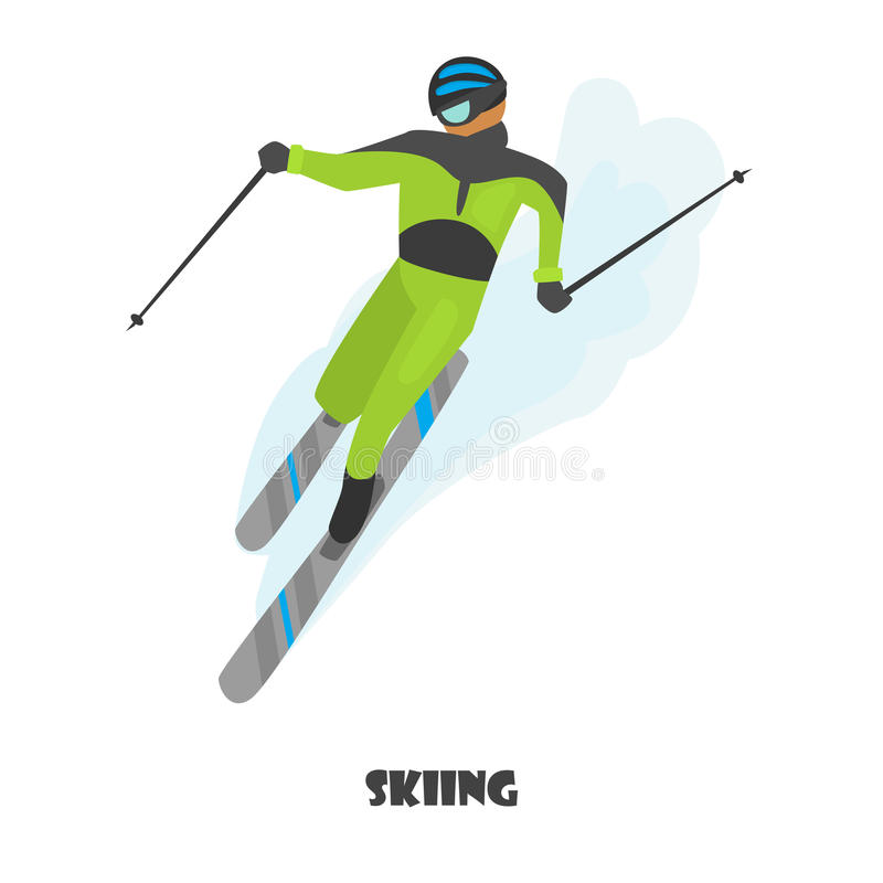 Illustration de couleur d'homme de ski d'isolement sur le blanc illustration libre de droits