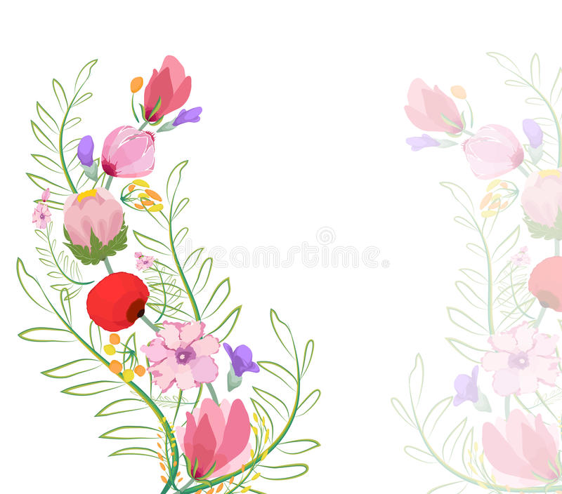 Illustration de couleur des fleurs dans des peintures d'aquarelle illustration libre de droits
