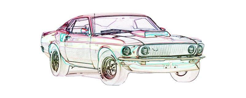 Illustration 1969 de couleur du mustang Mach1 illustration libre de droits