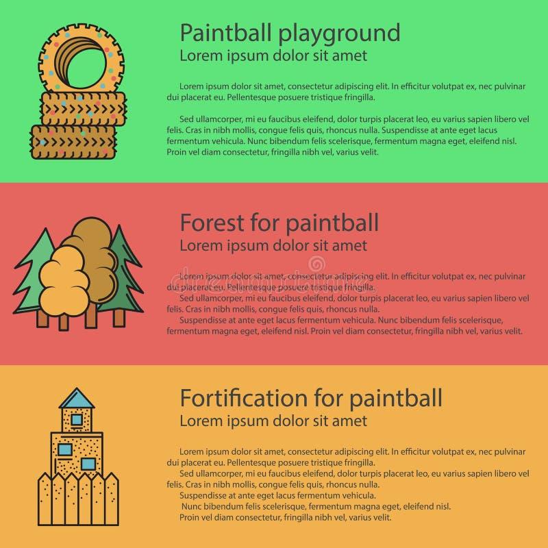 Illustration de couleur plate de terrain de jeu de Paintball illustration libre de droits