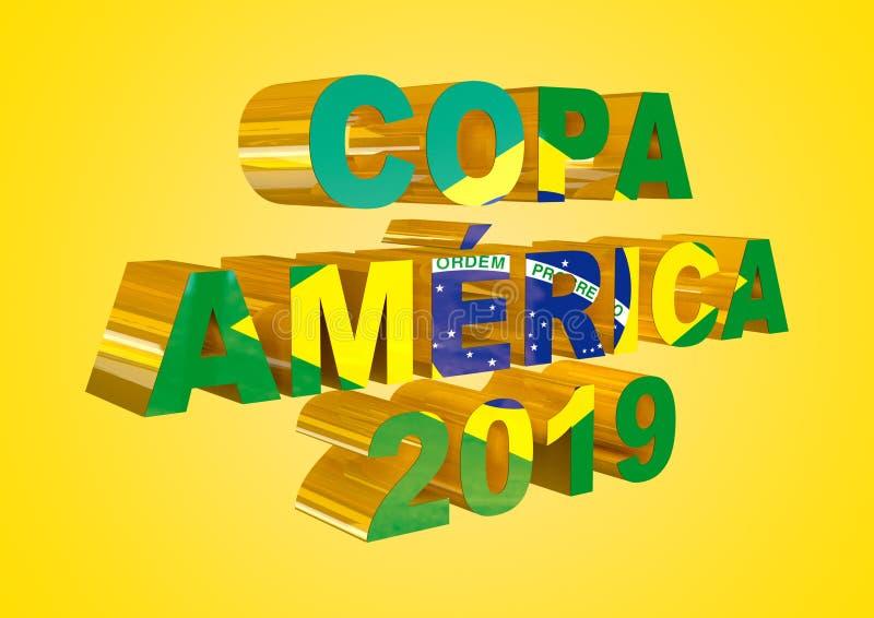 Illustration de coup de l'Amérique du Brésil avec le texte pour des campagnes dans le Portugais, d'isolement sur le fond jaune il illustration stock