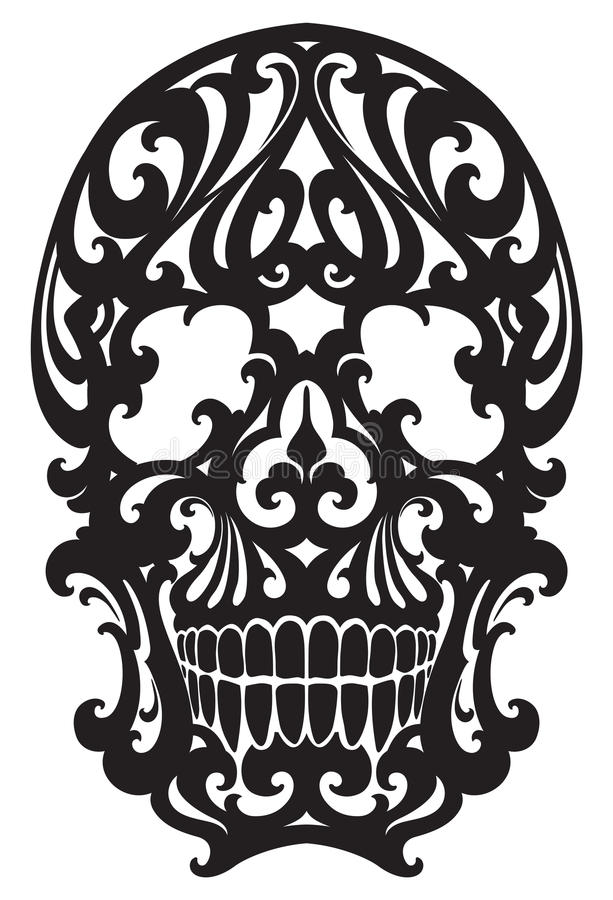 Illustration de crâne dans le style d'Art nouveau illustration de vecteur