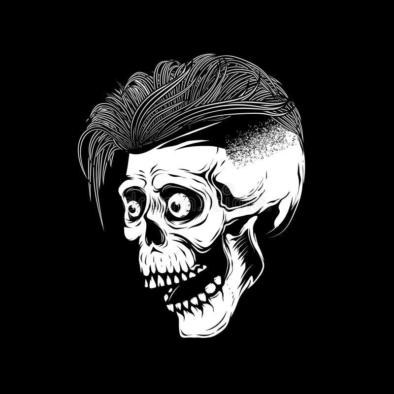 Illustration de crâne de hippie sur le fond blanc illustration libre de droits