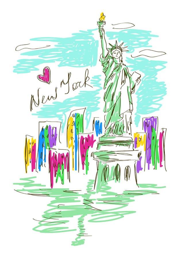 Illustration de croquis avec la statue de la liberté illustration libre de droits