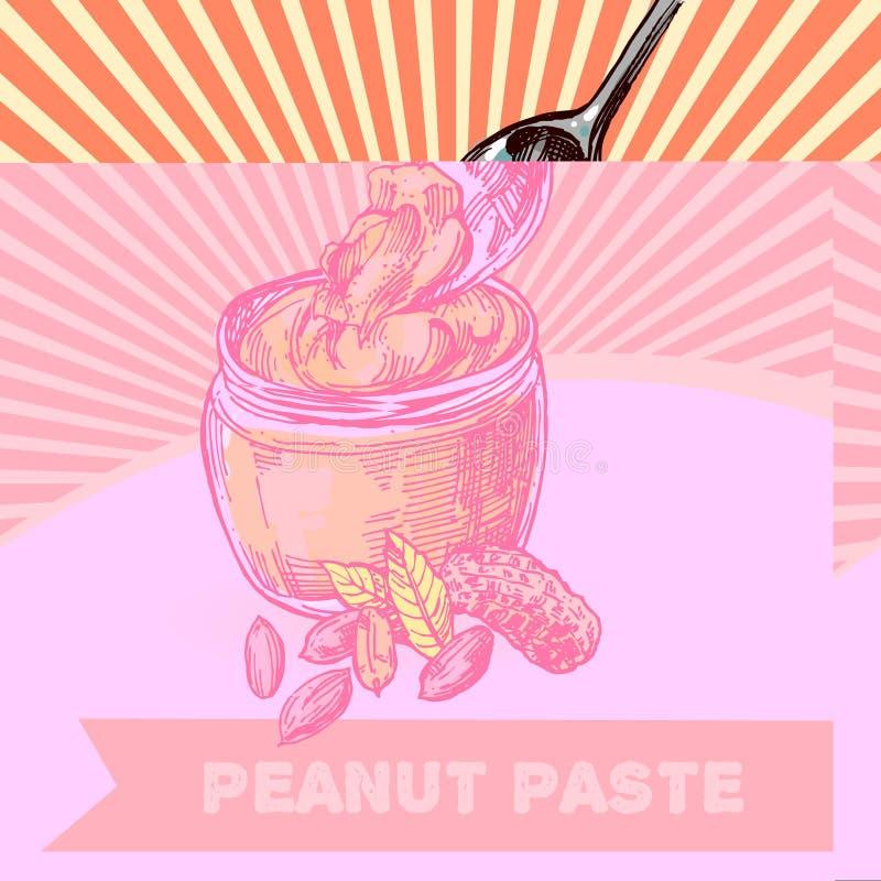 Illustration de croquis d'arachide Bel ensemble tiré par la main d'arachide illustration stock