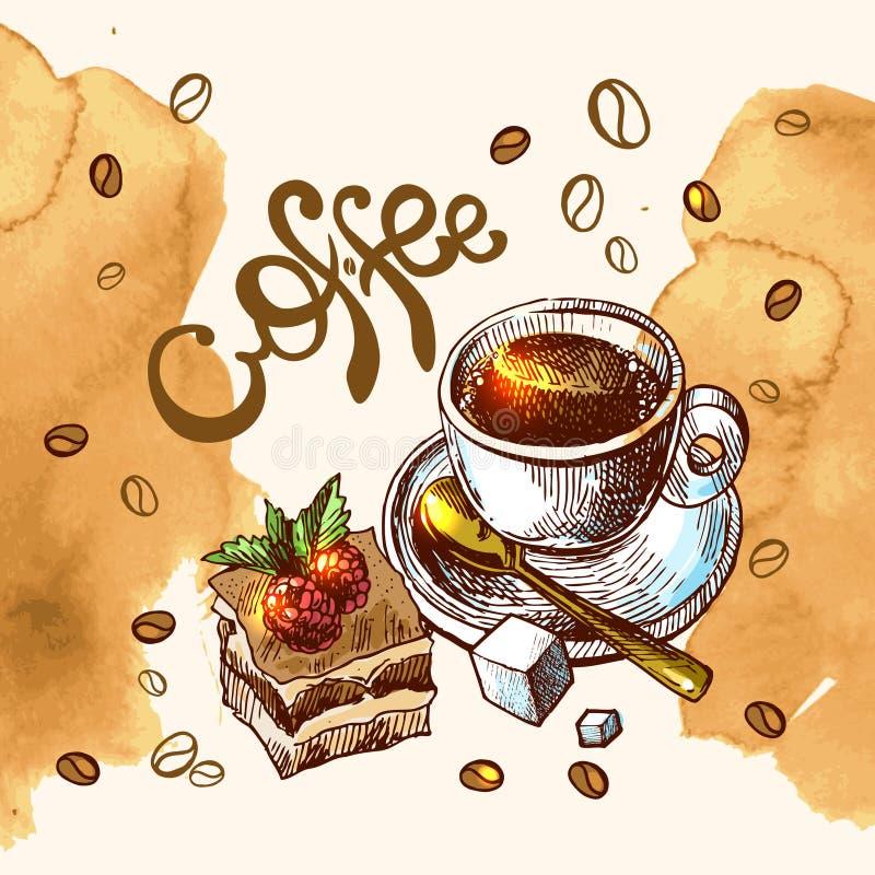 Illustration de croquis de café illustration de vecteur