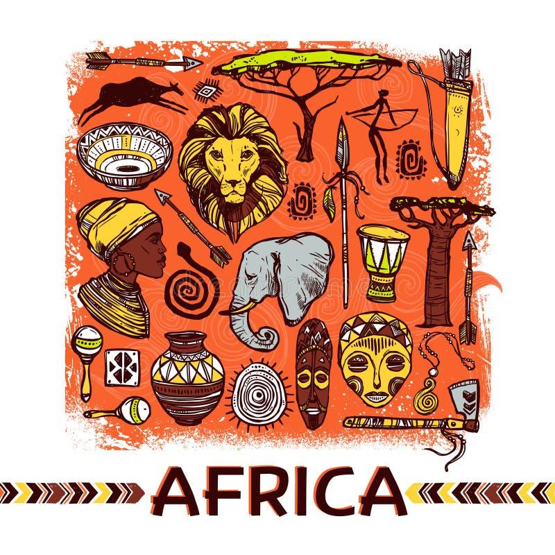Illustration de croquis de l'Afrique illustration stock