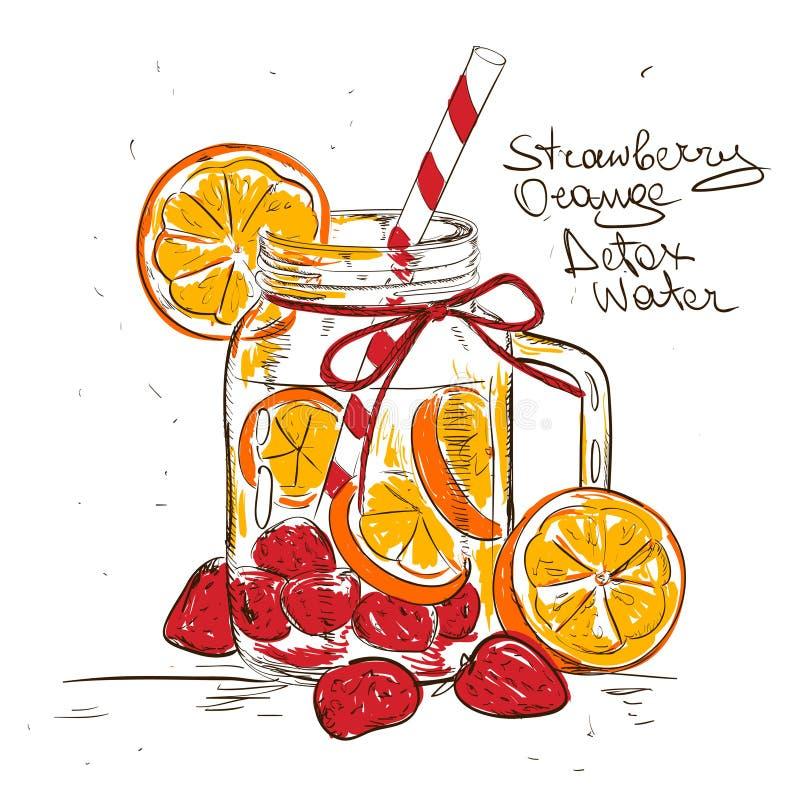 Illustration de croquis de l'eau orange de detox de fraise illustration de vecteur