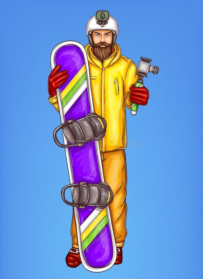 Illustration de croquis de vecteur d'homme de surfeur d'art de bruit de surf des neiges barbu adulte de participation de type de  illustration de vecteur