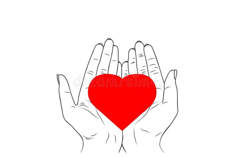 Illustration de croquis de vecteur - les mains des femmes tiennent le coeur illustration stock
