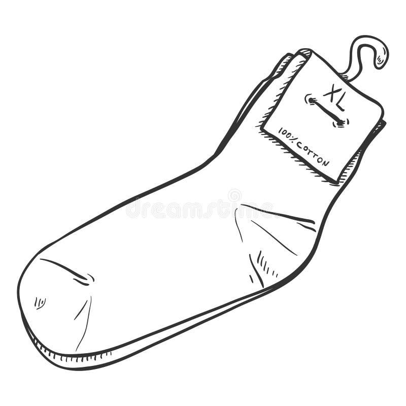 Illustration de croquis de vecteur - nouvelles chaussettes occasionnelles avec le label illustration stock