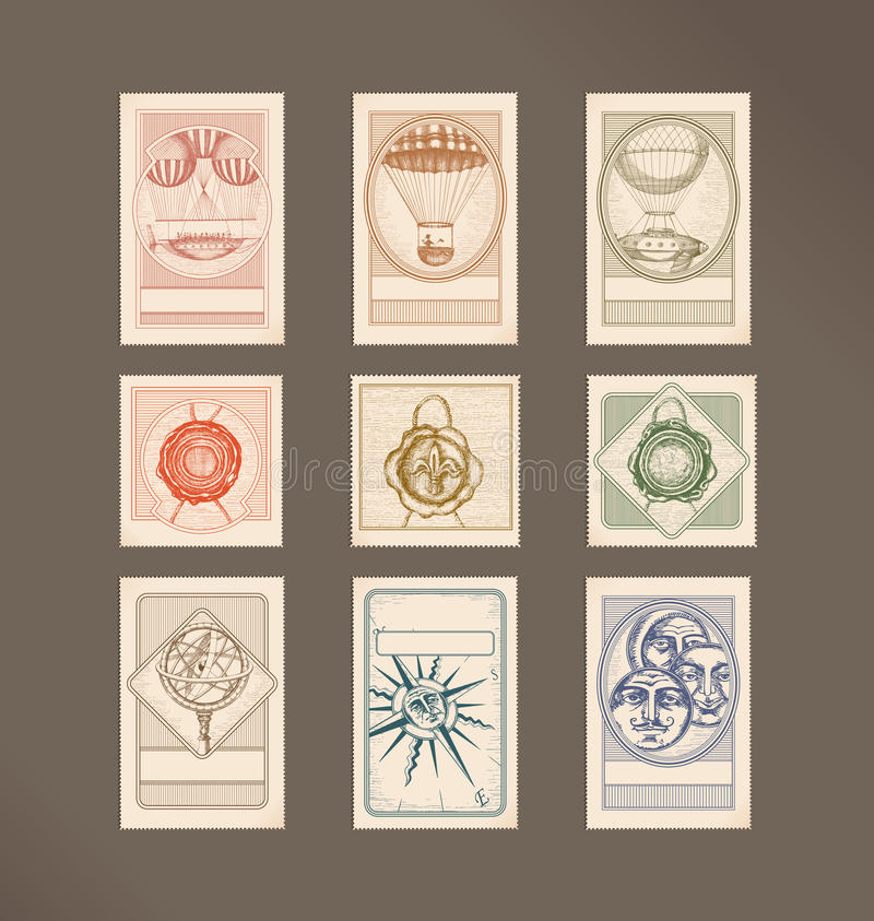Illustration de cru de timbres-poste illustration libre de droits
