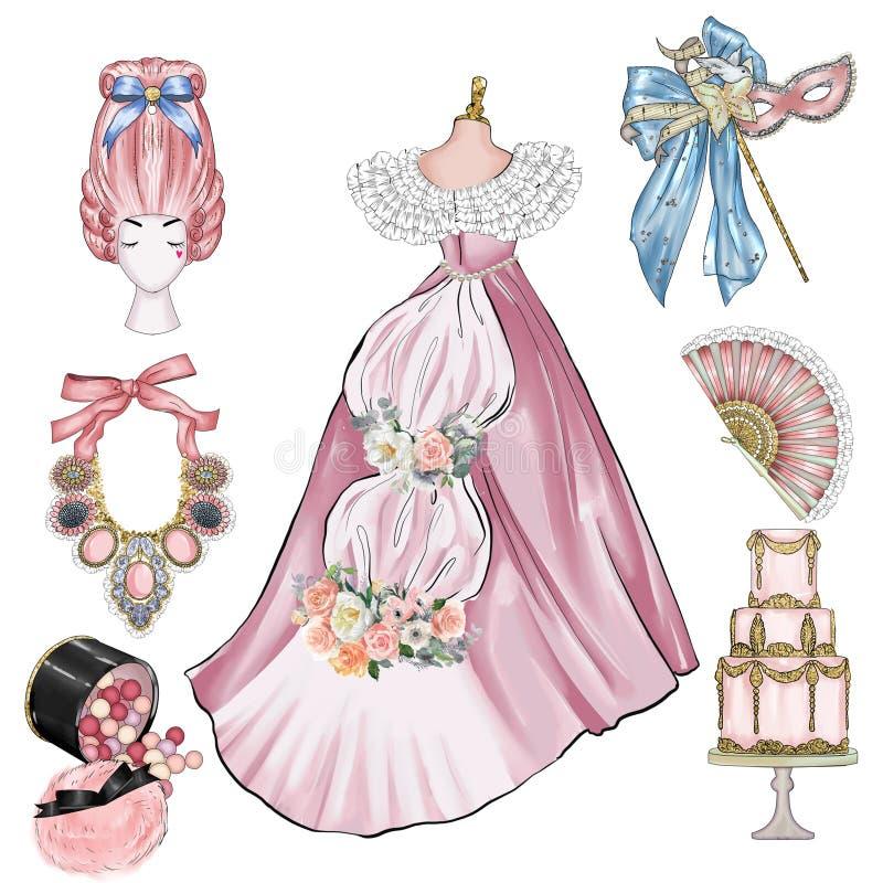 Illustration de cru de mode - groupe d'objets de cru - vieux articles de mode de siècle illustration de vecteur