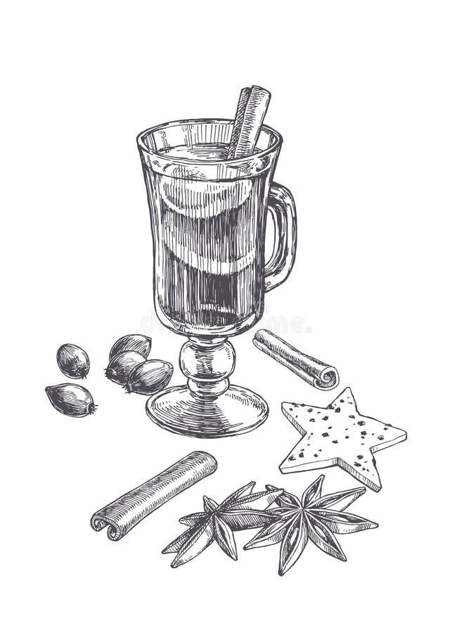 Illustration de cru de vecteur de vin chaud dans le verre à vin avec des ingrédients d'isolement sur le blanc Croquis tiré par la illustration stock