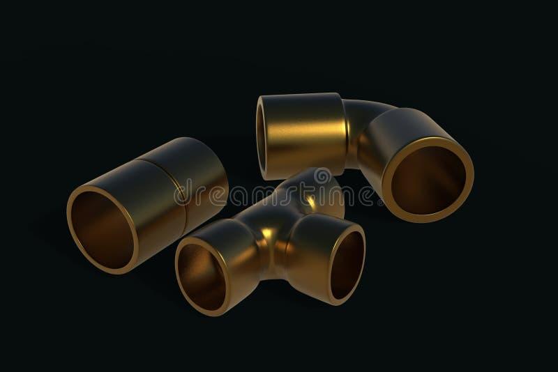 Illustration de cuivre des garnitures 3D illustration stock
