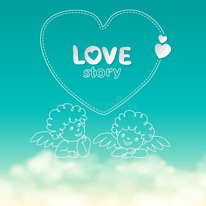 Illustration de cupidon tiré par la main de largeur de citation d'histoire d'amour sur le ciel ensoleillé avec des nuages illustration de vecteur