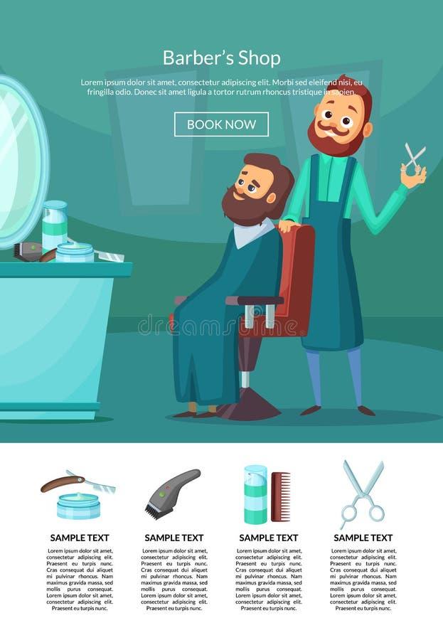 Illustration de débarquement de page de vecteur avec le coiffeur faisant une coupe de cheveux à une table et à un miroir d'insalo illustration de vecteur