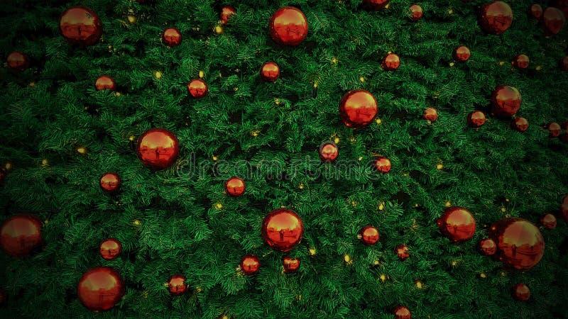 Illustration de décorations de Noël Boules rouges brillantes sur un C vert images libres de droits