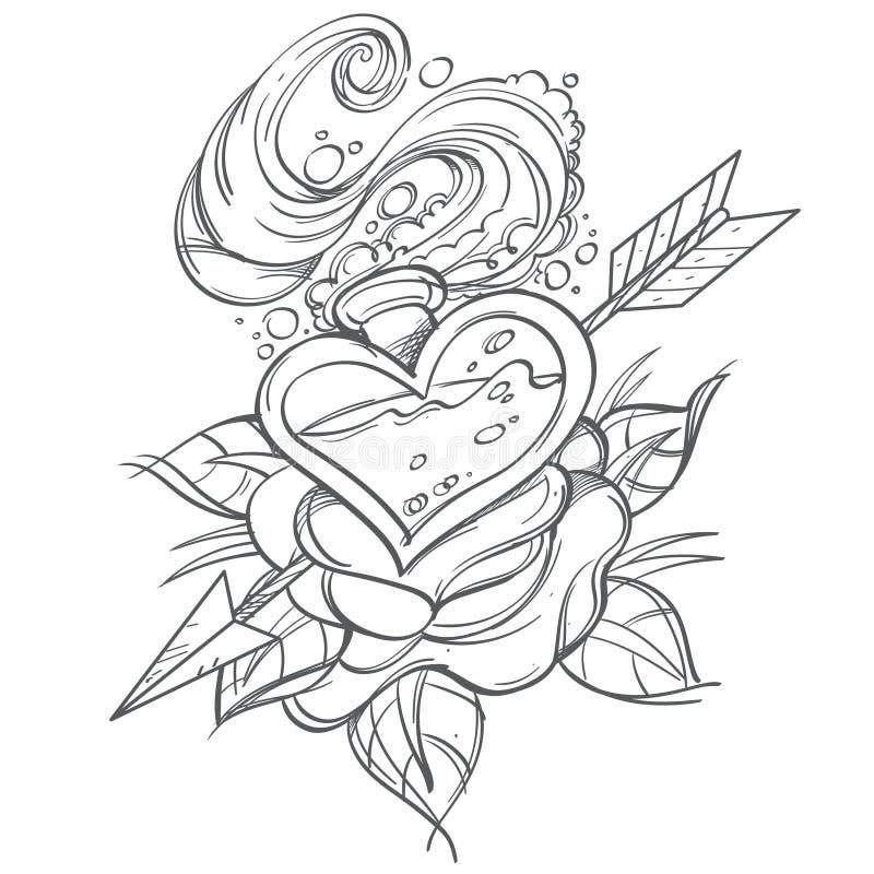Illustration de découpe avec une bulle en verre sous forme de coeur, rose et flèche Un croquis d'un tatouage illustration de vecteur