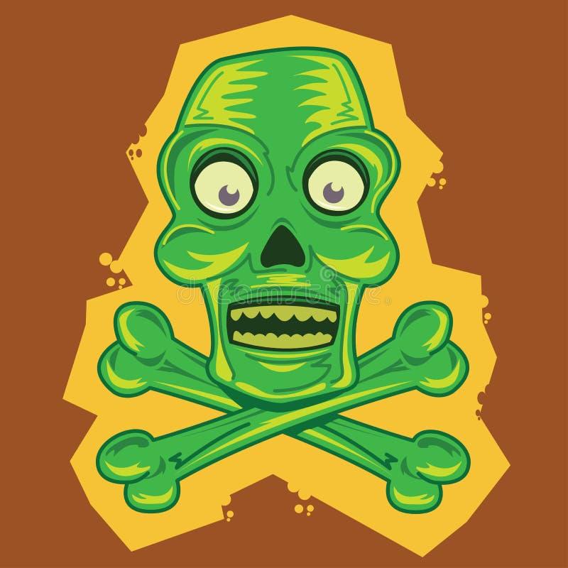 Illustration de dessin animé de tiki de crâne et d'os croisés illustration stock