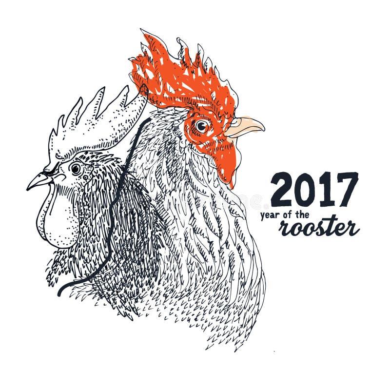 Illustration de dessin de coq illustration libre de droits