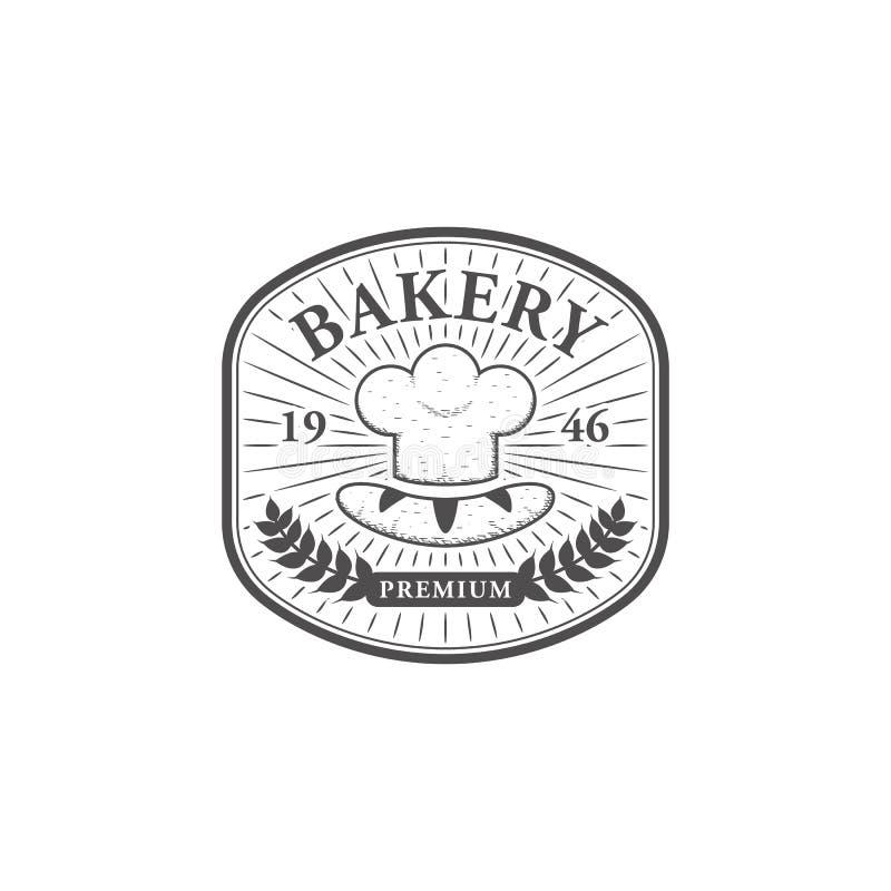 Illustration de dessin de main de symbole de logo d'emblème de chef de boulangerie de cru illustration de vecteur