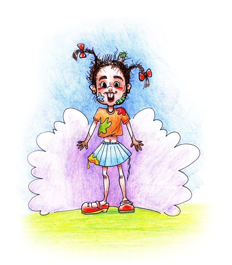 Illustration de dessin tirée par la main avec une fille délabrée drôle avec des tresses et des mains sales sur le fond d'un nuage illustration de vecteur