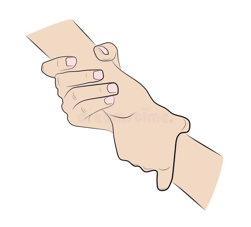 Illustration de deux mains se tenant fortement illustration stock
