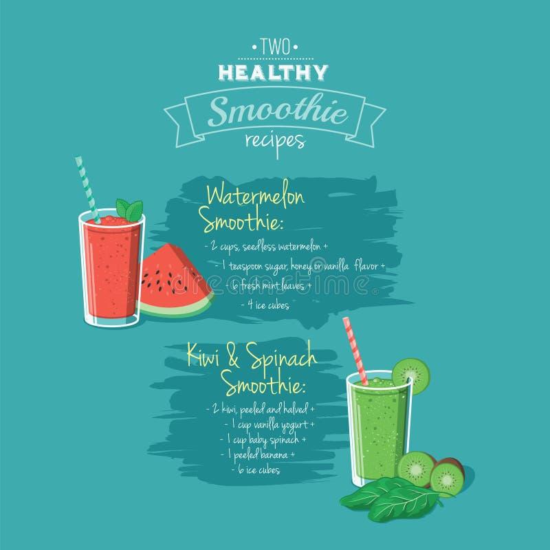 Illustration de deux recettes saines de smoothie - eps8 illustration de vecteur