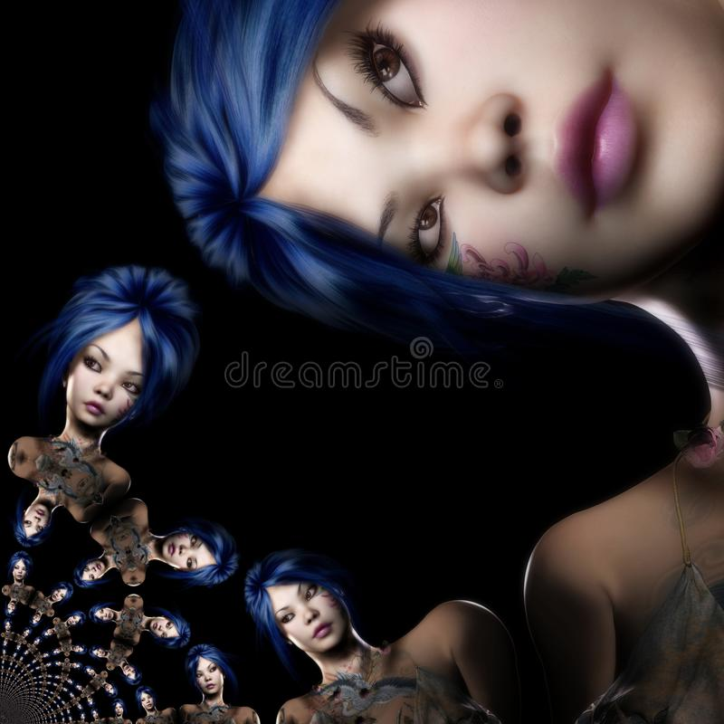 Illustration de Digital 3D d'une femme d'imagination, digita illustration libre de droits