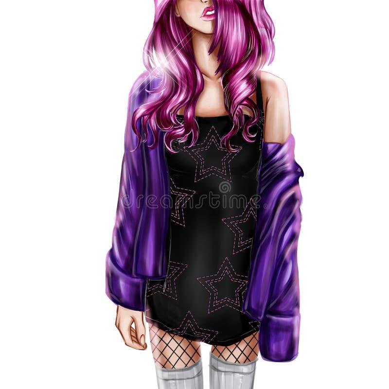 Illustration de Digital de fille avec les cheveux roses illustration stock