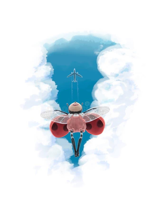Illustration de Digital du vol mignon de coccinelle sous l'avion par les nuages illustration de vecteur